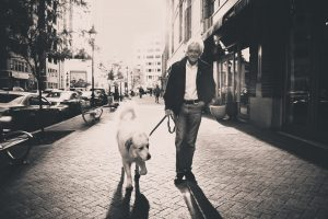 A smiling old man walks his white dog | Burnaby, New Westminster | Sports Therapy & Chiropractic Clinic
