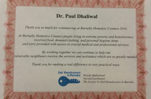 Dr. Paul Dhaliwal volunteers to support the Burnaby homeless